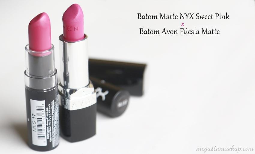 Comparação batom NYX e Avon 2 - Comparando: Batom Sweet Pink da NYX e Fúcsia Matte da Avon
