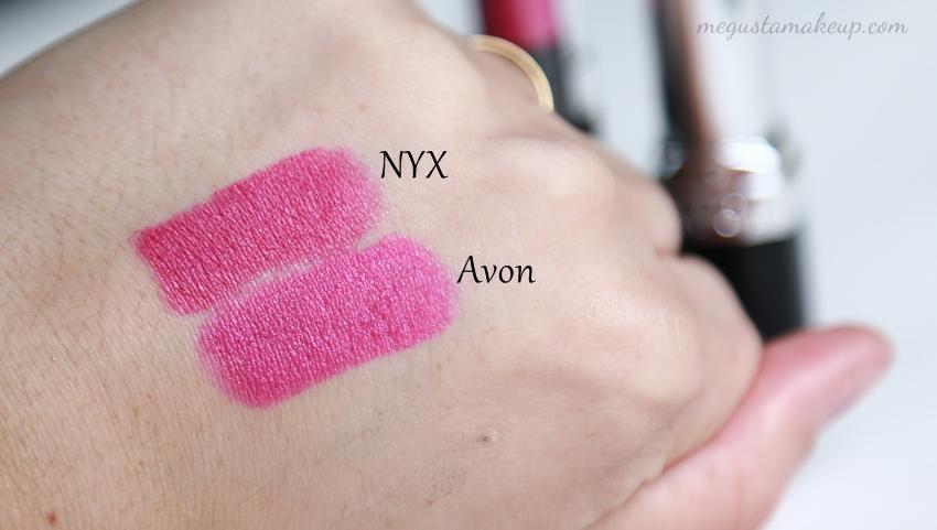 Comparação batom NYX e Avon 5 - Comparando: Batom Sweet Pink da NYX e Fúcsia Matte da Avon