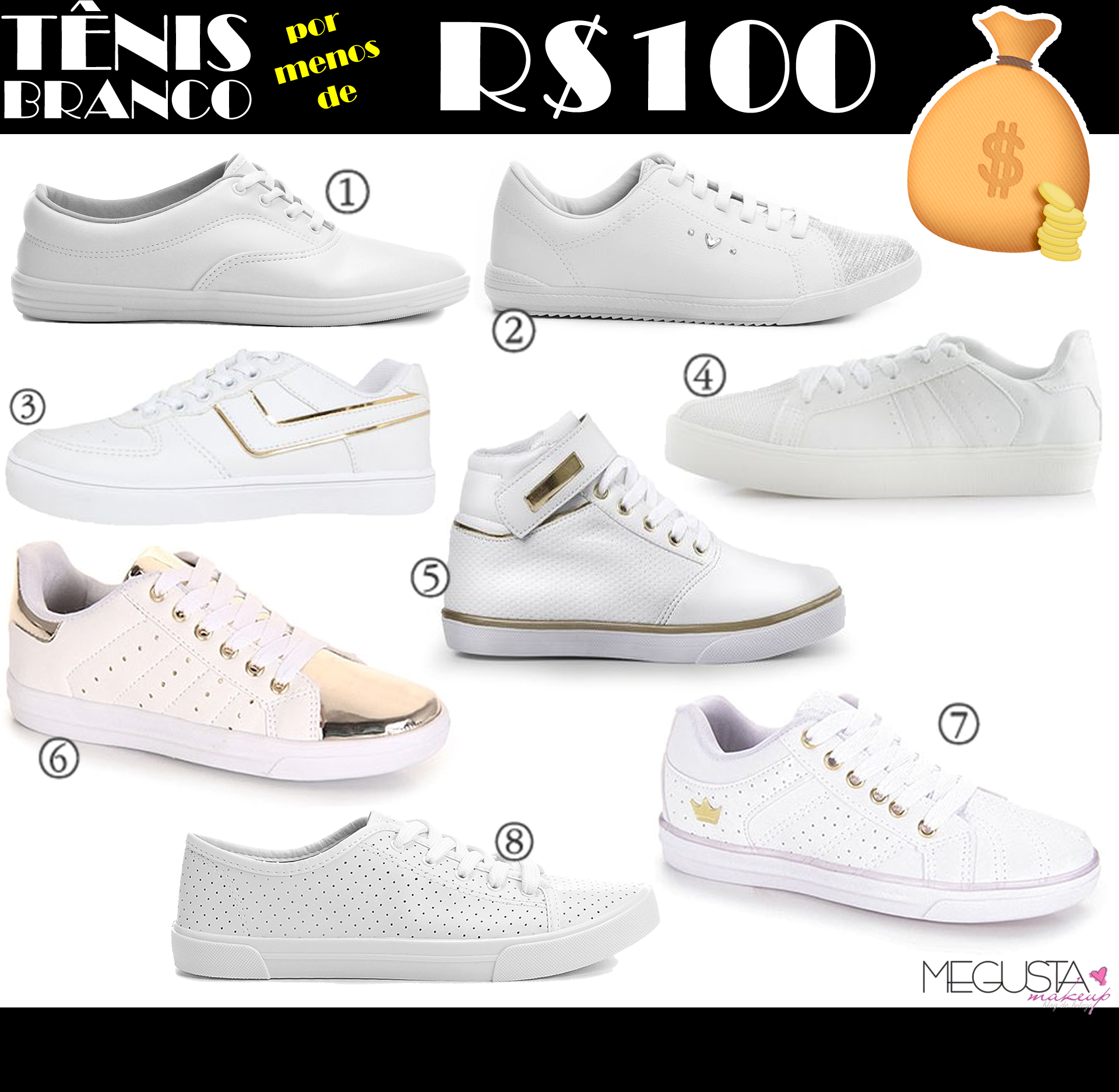 Sem título 2.fw  - Onde Comprar: Tênis Branco por Menos de R$100